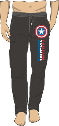 Marvel Comics Steve Rogers Captain America Black Sleep Lounge Pants - Cupid's Corner