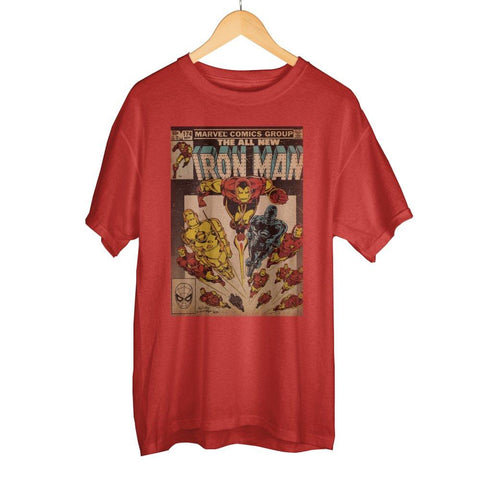 Awesome Marvel Iron Man Comic Book Cover Artwork Men's Bright Red Graphic Print Boxed Cotton T-Shirt - Cupid's Corner