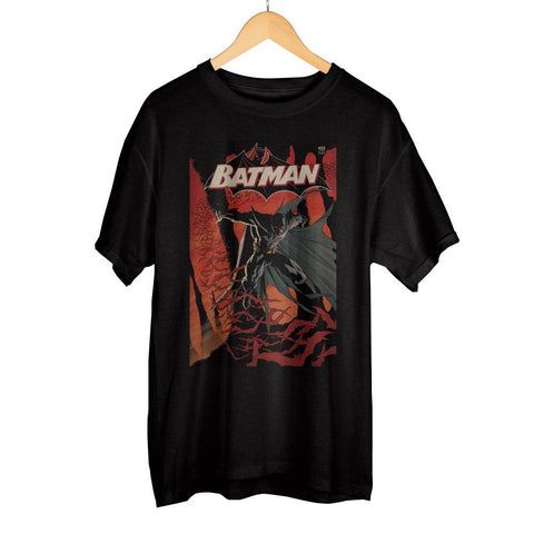 Classic Batman DC Comic Book Cover Artwork Men's Black Graphic Print Boxed Cotton T-Shirt - Cupid's Corner