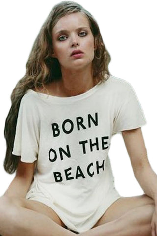 Born On The Beach White T-shirt Beachwear - Cupid's Corner