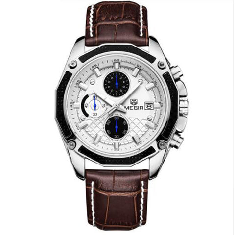 Men Watches Fashion Genuine Leather Chronograph Watch Clock for Gentle Men - Cupid's Corner