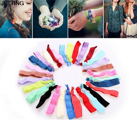 30Pcs Ponytail Holder Knot Elastic Hair Tie Hairband printed colorful Bracelets knotted headwear hair accessories - Cupid's Corner
