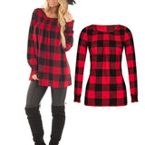 Women Long Sleeve Red Plaid Tops Tee Spring Round Neck Blouse Girls Casual T-shirt - Cupid's Corner