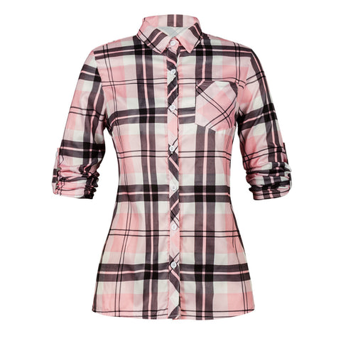 Pink Women Polo Shirt Casual Spring Plaid Button Blouse Girls Long Sleeve Shirts - Cupid's Corner