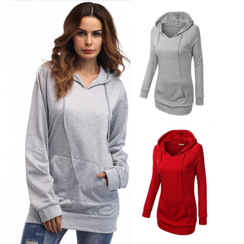 Pullovers Hoodies Sweatshirts with Cap and Pocket 2018 Spring Solid Color Cotton Long Sleeve Tunic Tracksuit - Cupid's Corner
