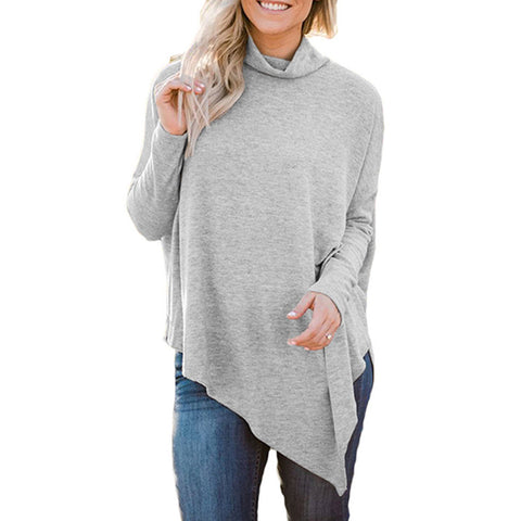 Fashion Spring Women Tops High Neck Sweater Irregular Hem Batwing Blouse Long Sleeve Loose Knitwear Pullover Shirts - Cupid's Corner