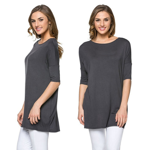Summer Women Loose Tops Blouse Shirt Boatneck Top Half Wide Sleeve Batwing T-Shirt Plus Size - Cupid's Corner