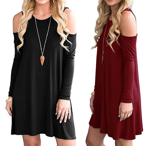 Long Sleeve Scoop Neck Pullover Dressy Blouses  Swing Hem Dressy Tunic Tops Loose Swing Dress Shirts for Women - Cupid's Corner