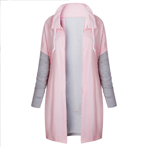 Spring Women Black Tunic Cardigan Coat Long Sleeve Hoodies Jacket Zipper Hooded Outerwear - Cupid's Corner