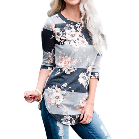 Women Casual Floral Blouse Tops Spring Half Sleeve Blouses Girls Pullover Sweatshirt T-shirt - Cupid's Corner