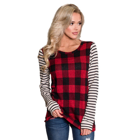Women's Casual Loose Plaid Tunic Tops for Women Long Sleeve Striped Color Block Blouse for Women - Cupid's Corner