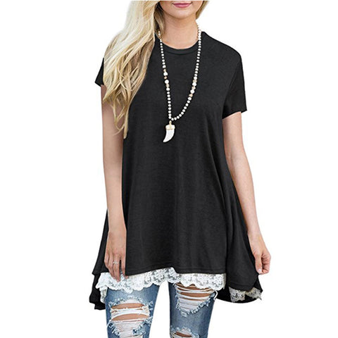 Black Short Sleeve A-Line Tunics Tops Lace Hem Pullover Shirts Dress Tunic Sweatshirts Top for Women - Cupid's Corner