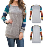 Women's Cotton Knitted Blouse Long Sleeve Lightweight Tunic Sweatshirt Spring Patchwork Tops - Cupid's Corner