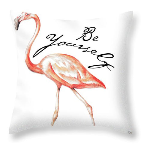 Be Different Flamingo II Throw Pillow - Cupid's Corner