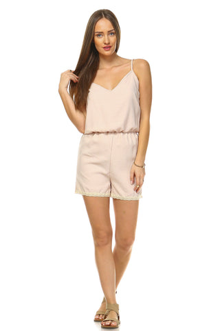 Women's V-Neck Romper with Embroidered Trim - Cupid's Corner