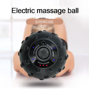 Silicone Vibrating Massage Ball Electric Roller Muscle Relaxation Apparatus Trigger Relief Training Waist & Abdomen Yoga Pilates