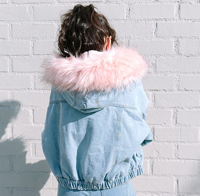 Faux Fur Denim Bomber
