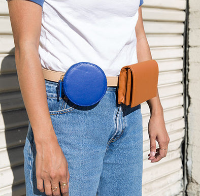 Geometric Leather Belt Bag