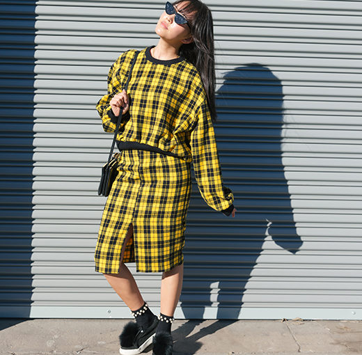 Plaid Sweater and Skirt