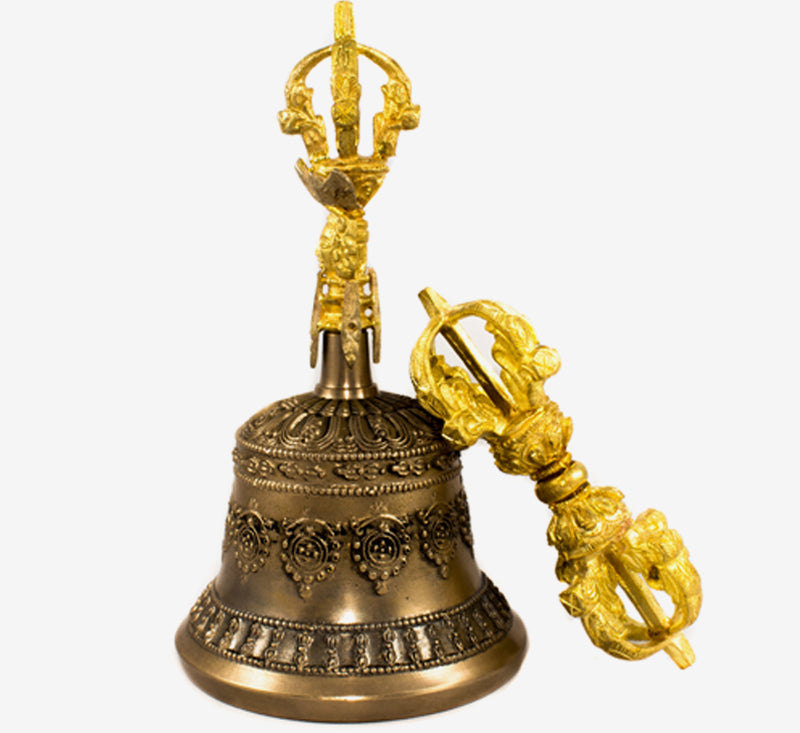 Tibetan dharma object bell and bajra set