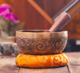 Fire and Mantra Carved Etching Singing Bowl
