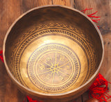 Fire and Mantra Carved Yoga Hammered Singing Bowl