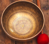 Fire and Mantra Carved Etching Singing Bowl For Chakra Healing