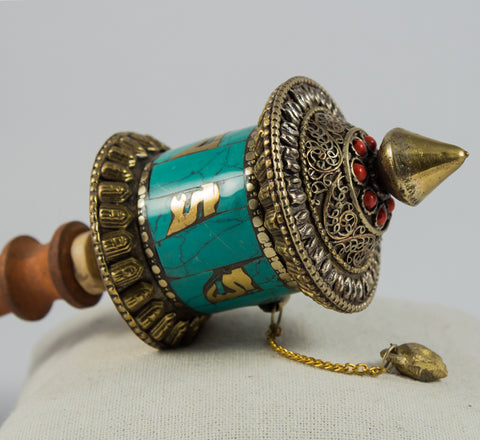 Tibetan Buddhist Mantra Small  Hand Held Turquoise Prayer Wheel