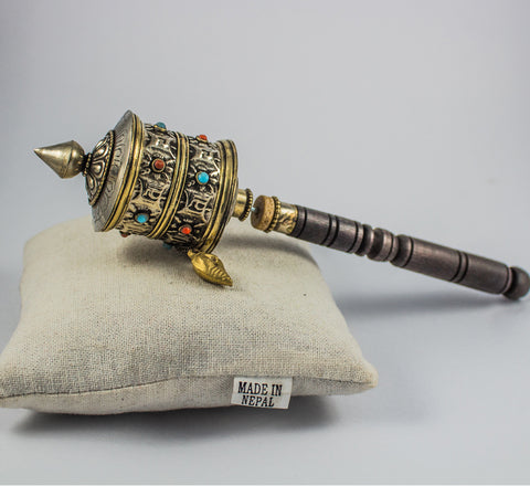 Antique Tibetan symboled small prayer wheel