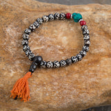 Traditional Bone and Onyx Wrist Mala OM Bracelets Buddha Beaded Lucky Healing