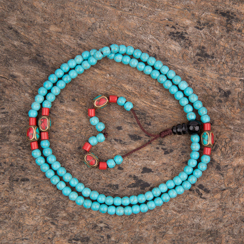Special Turquoise Lucky Prayer Mala Beads Necklace Bracelets