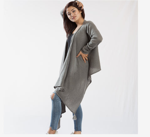 Pure Pashmina High-Low Style Outer