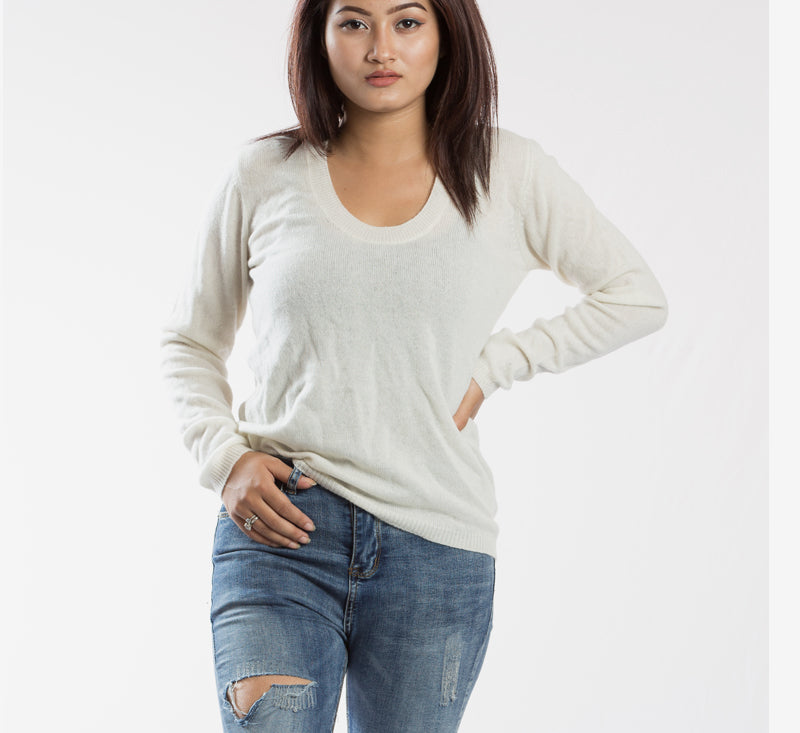 Full Sleeved Pure Pashmina Round Neck Top