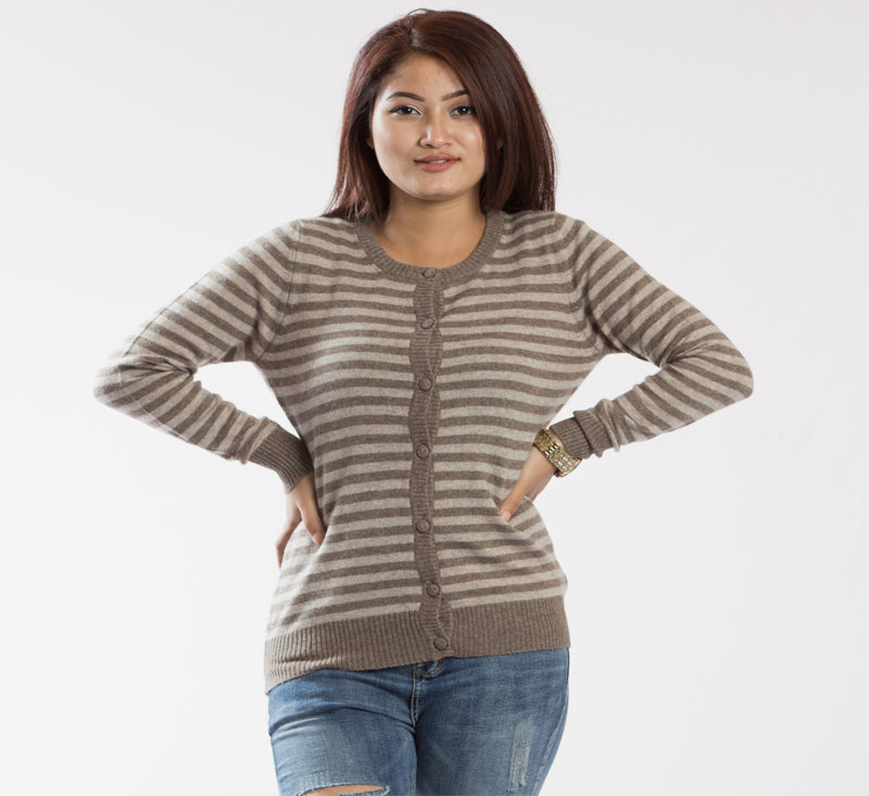 Warm Knitted Full Sleeved Pure Pashmina Cardigan