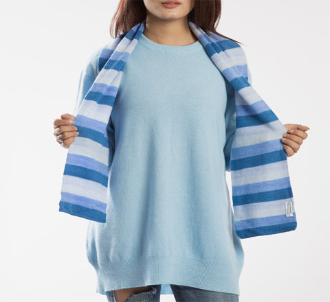 Bright Striped Short Pure Pashmina Scarf