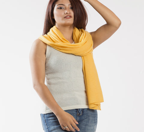 Bright and Sunny Yellow Long Pure Pashmina Shawl
