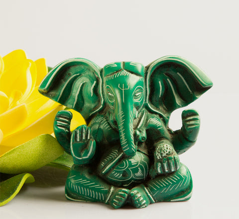 Green Ganesh Statue Resin