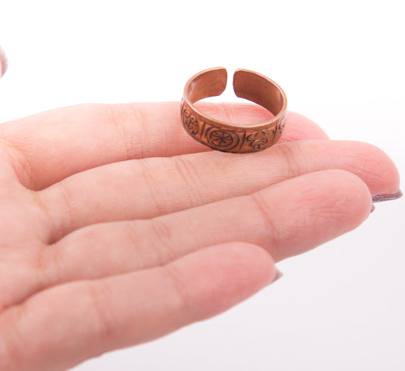 Religious Tibetan Buddhist Lucky Mantra Crafted copper Finger Ring