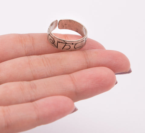 Tibetan Mantra Crafted Custom Size Finger Ring Knuckle Handmade Jewellery Gift