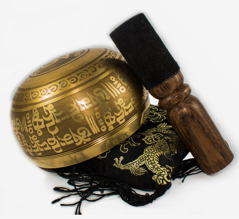 Nepal Antique Buddhist Mantra and Symbol Etched Yoga Meditation Singing Bowl Set