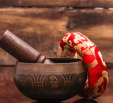 Antique Chakra Balancing Yoga Singing Bowl Handmade in Nepal With Wooden Mallet and Silk Cushion