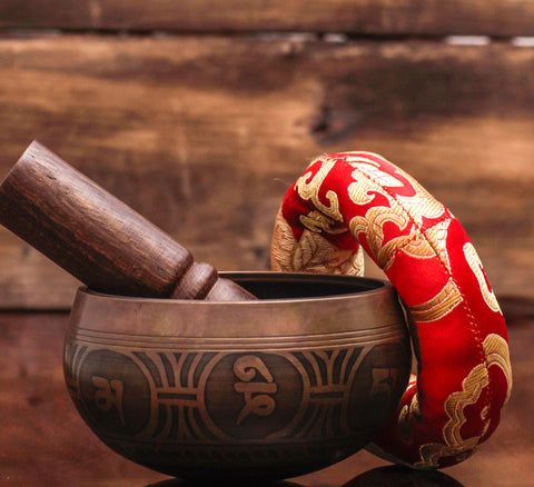 Tibetan Singing Bowl Set Handmade in Nepal With Mallet and Cushion.