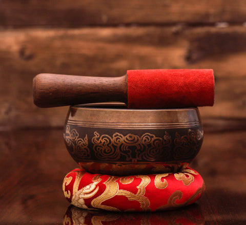 Ohm carving Etching Tibetan Handmade Singing Bowl
