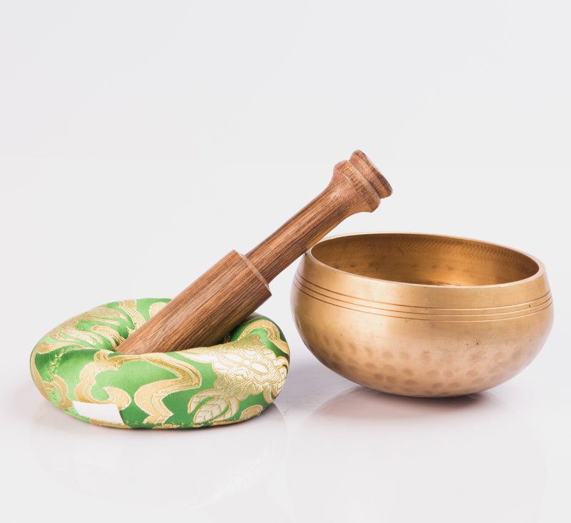 Hand Hammered Tibetan  Singing Bowl used for Chakra Healing with Wooden Mallet and Silk Pillow