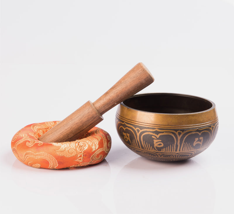 Tibetan Handmade Antique Spiritual Brass Singing Bowl Set