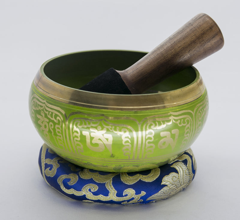 Handmade Green Tibetan Singing Bowl For Meditation, Yoga and Healing