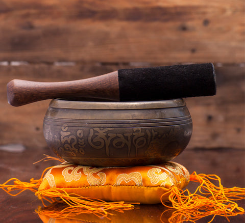 Antique Om Mane Padhme Hum Mantra Singing Bowl With Silk Cushion and Leather Mallet