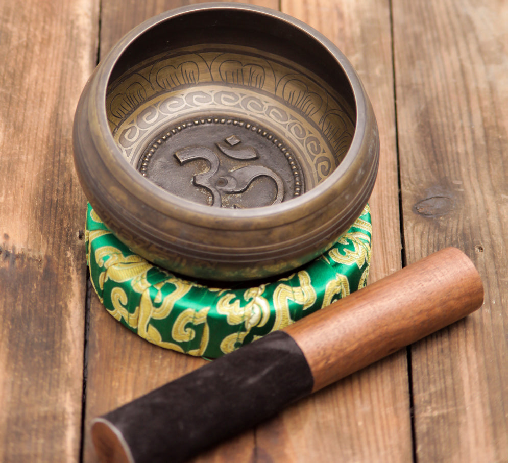 Om Carved Tibetan Singing Bowl For Root Chakra Healing