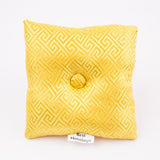 Tibetan Handmade Silk Square Singing Bowl Cushion Yellow
