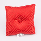 Tibetan Handmade Silk Square Cushion Red